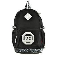 Рюкзак молодёжный KAUKO 29х46х17 чёрный, материал брезент