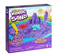 Набор песка для детского творчества - KINETIC SAND ЗАМОК ИЗ ПЕСКА фиолетовый, 454 г, формочки, лоток 71402P