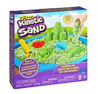 Набор песка для детского творчества - KINETIC SAND ЗАМОК ИЗ ПЕСКА зеленый, 454 г, формочки, лоток 71402G