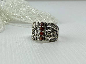 Серебряное кольцо с камнями Спессартин и Морион