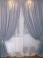 Готовые шторы блекаут гладкий  Серый