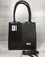 Классическая женская сумка Welassie Крокодил Коричневая 65-31710, КОД: 1299654