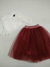 Подростковый нарядный комплект для девочки кофта+юбка р. 134-158 опт