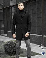 """Короткое мужское зимнее кашемировое пальто """"Батя"""" на утеплителе черное"""