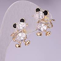Серьги Мышки с белыми кристаллами, цвет метала золото 20х14 мм