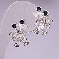 Серьги Мышки с белыми кристаллами, цвет метала серебро 20х14 мм