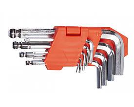 Набор ключей шестигранных L-образных с шаровым окончанием 9 шт., 1.5-10 мм, стандартной длины LA 511604 Lavita