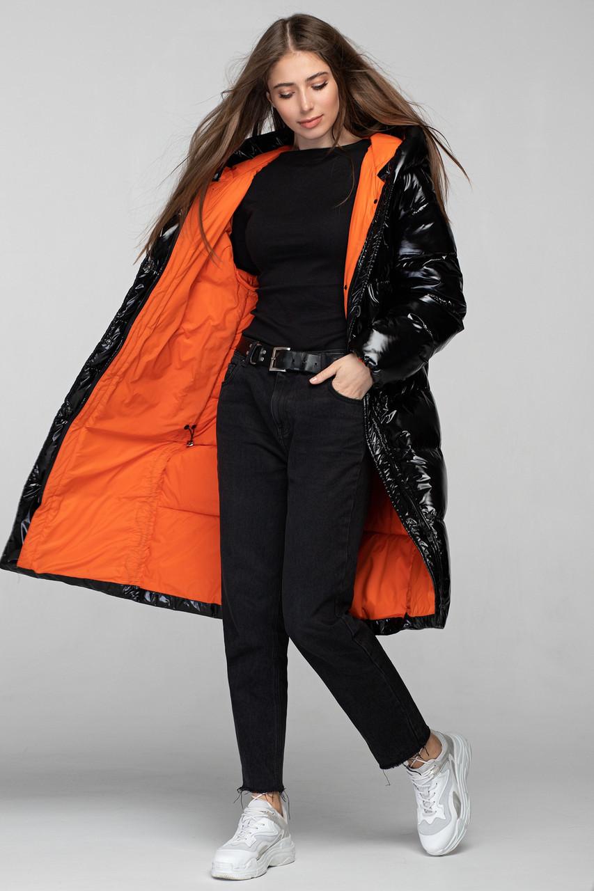 Зимняя теплая куртка KTL-323 из новой коллекции KATTALEYA черного цвета с оранжевой подкладкой