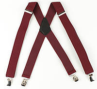 Подтяжки мужские унисекс широкие однотонные усиленные Paolo Udini X40 Top Gal бордовые, фото 1