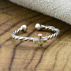 Серебряное кольцо на фалангу с крестиком вставка белый фианит вес 0.6 г
