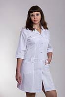 Медицинский халат женский белый 2111 ( батист 40-52 р-р )