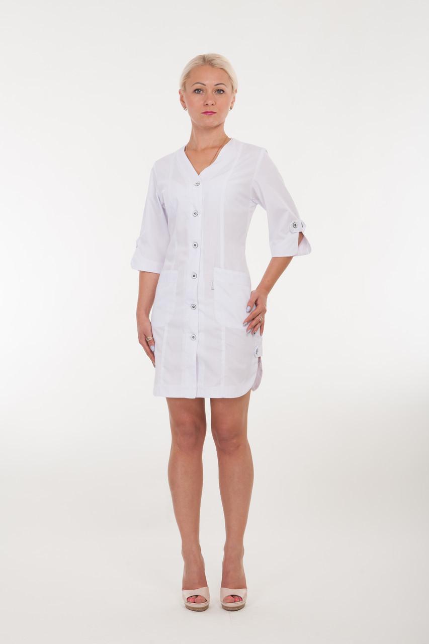 Короткий женский медицинский халат на пуговицах 2155 ( батист 40-66 р-р)