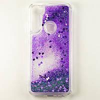 Чехол Glitter для Xiaomi Redmi Note 8 Бампер Жидкий блеск Фиолетовый