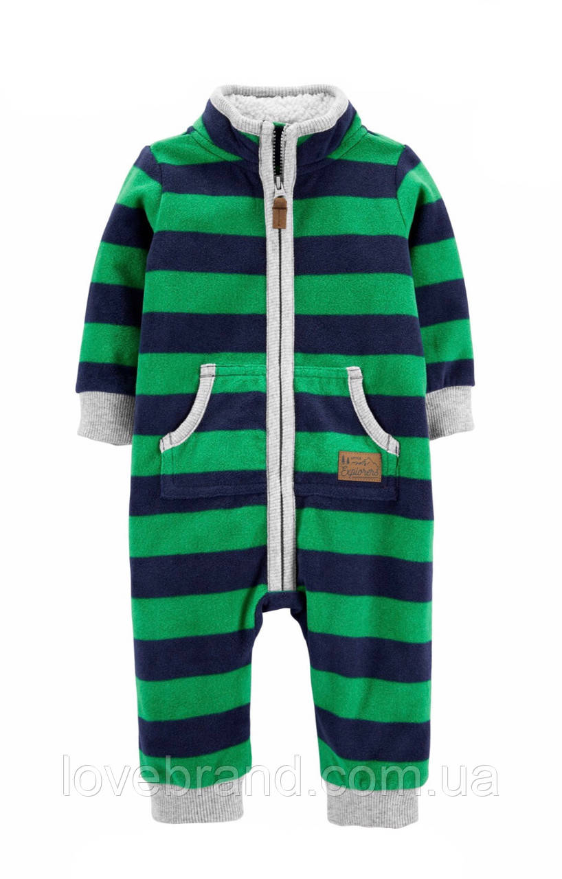 Флисовый комбинезон Carter's для мальчика зеленый с утепленным воротником 12 мес/72-78 см
