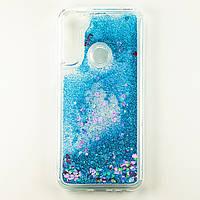Чехол Glitter для Xiaomi Redmi Note 8 Бампер Жидкий блеск Синий