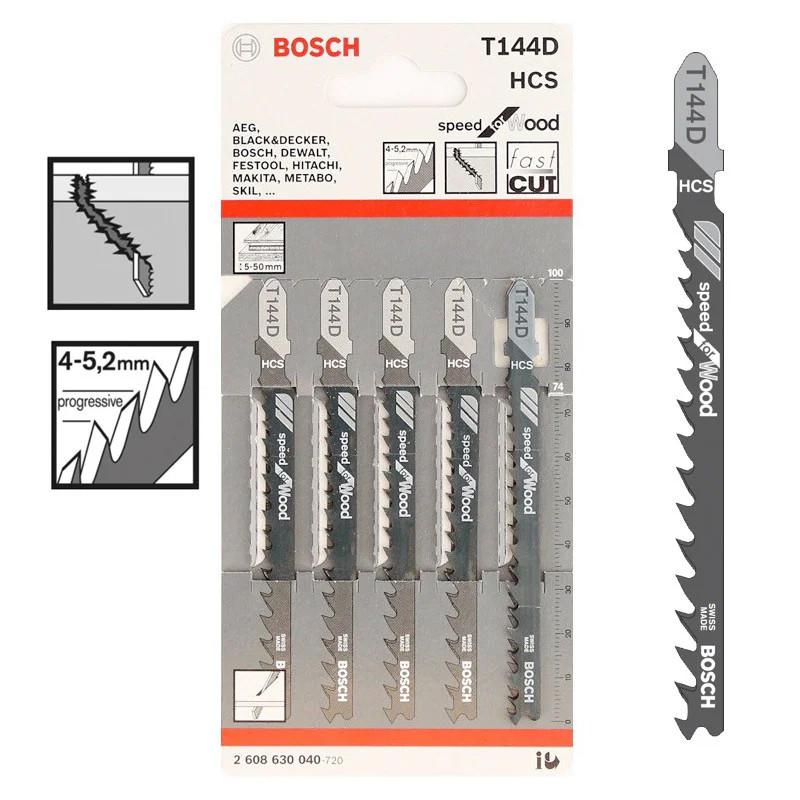 Пилка для лобзика Bosch T 144 D, HCS 5 шт/упак.
