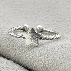 Серебряное кольцо на фалангу Звездочка вес 1.0 г