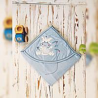 Полотенце уголок для новорождённых для купания голубой Bebessi
