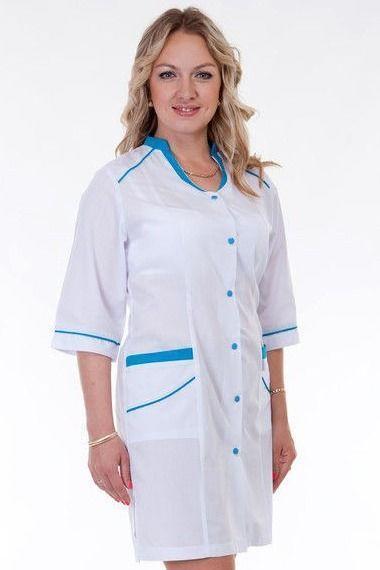 Медицинский женский халат воротник-стойка 2150 ( батист 42-60 р-р )