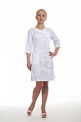 Коттоновый белый медицинский халат с боковой застежкой 3129 ( коттон 42-60 р-р)