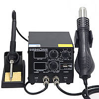 Паяльная станция Gordak 868D фен + паяльник, металлический корпус, 2 дисплея + USB порт