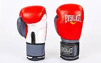 Перчатки боксерские кожаные на липучке Everlast  (р-р 10-12oz, красный-серый), фото 1