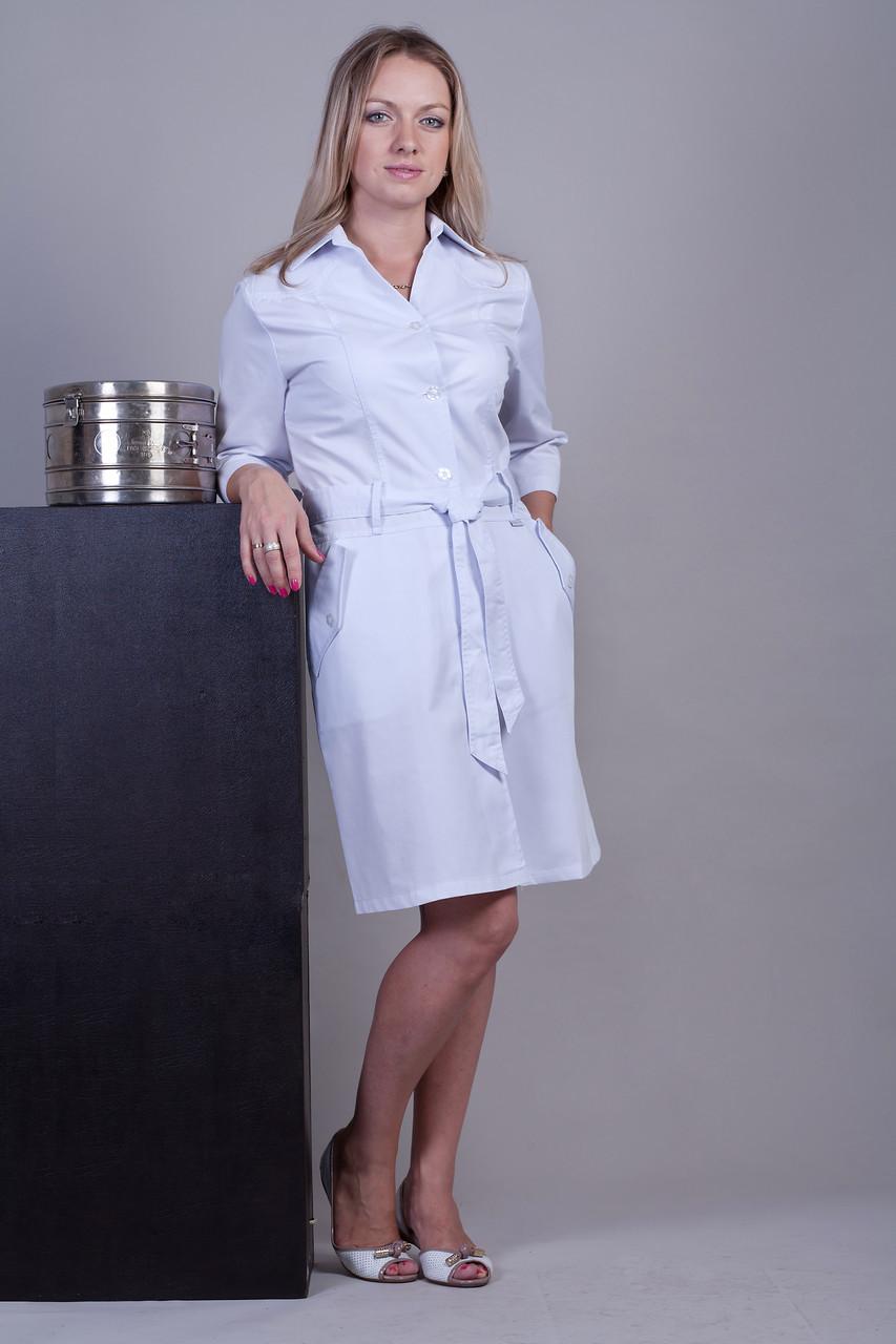Белый медицинский халат женский с поясом 3109 ( коттон 40-52 р-р )
