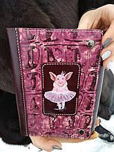 """Кожаный блокнот женский с рисунком """"Свинка - балерина"""", натуральная кожа"""