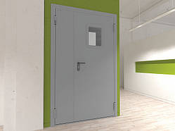 Двери DoorHan технические двухстворчатые остекленные DTO1/1150/2050/7035/L/N