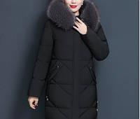 Женский теплый стеганый пуховик с капюшоном и  меховой отделкой, черный размер S