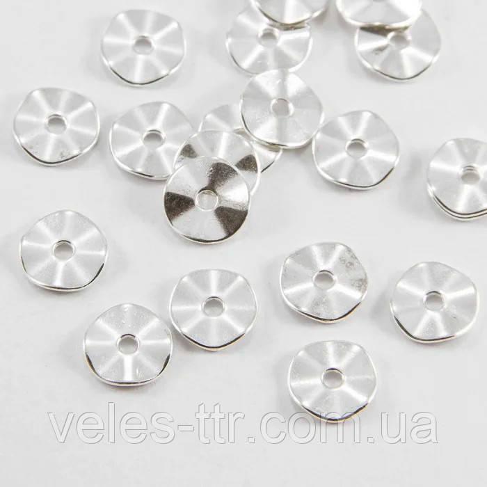 Бусина металлическая шайба Волна серебро 10х1 мм