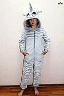 Пижама комбинезон махровый единорг детский шиншилла теплый кигуруми р. 34-40