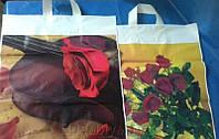 Пакеты с петлевой ручкой 42х45 Роза, Бокалы 50шт/уп.