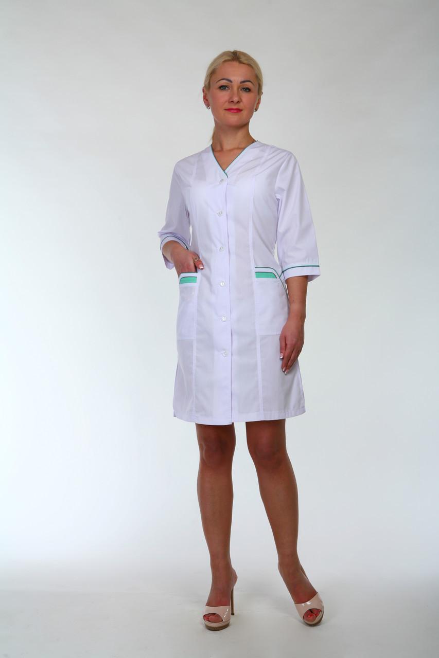 Медицинский женский белый халат 2191 (батист 44-60 р-ры )