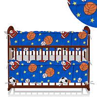 Защита в кроватку - поликоттон Мячи - СинийТМ Алекс - 218895