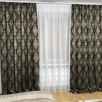Готовый комплект плотных  штор недорого  в орнаментом, фото 1