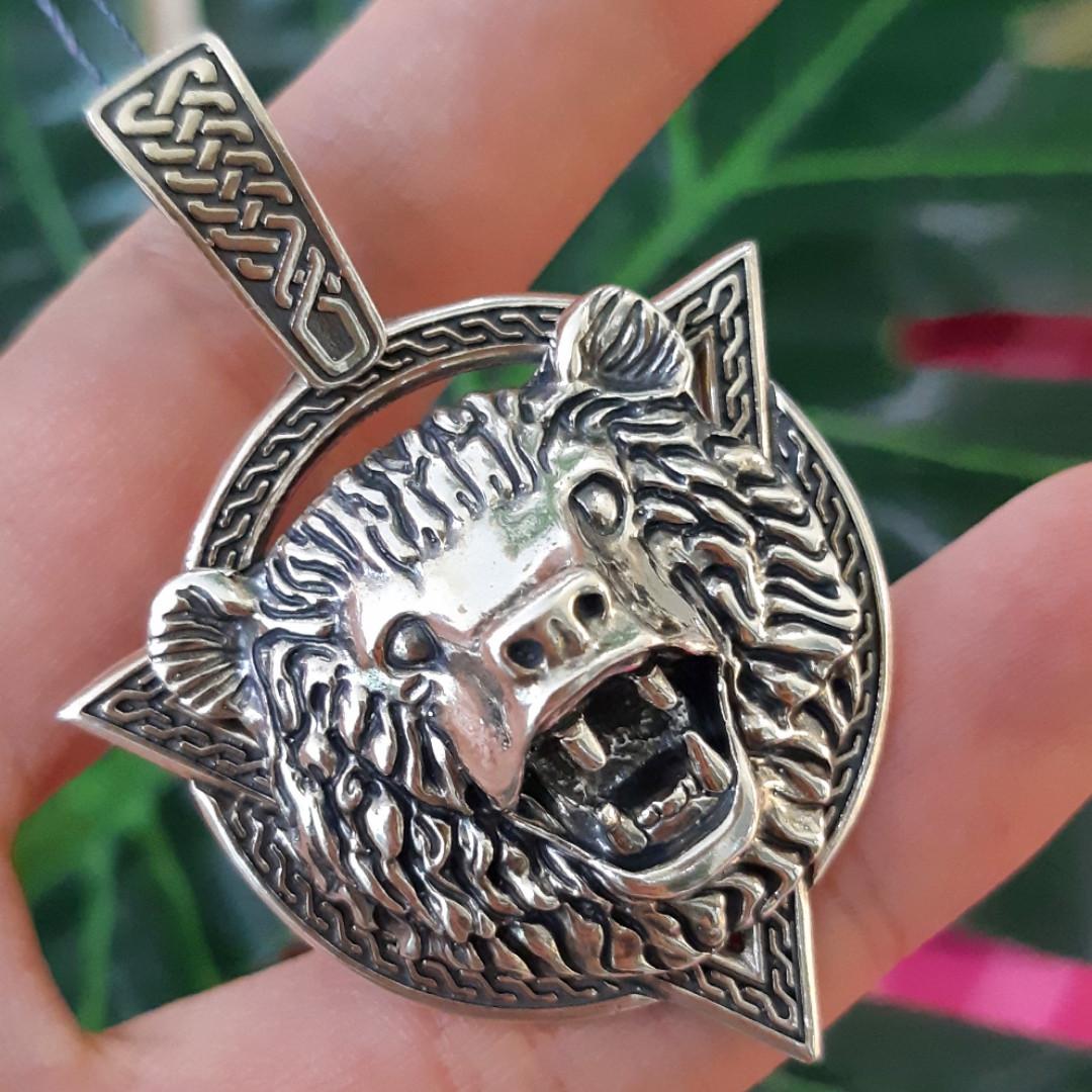 Серебряный мужской кулон амулет Медведь - Серебряный оберег бога Велеса Медведь