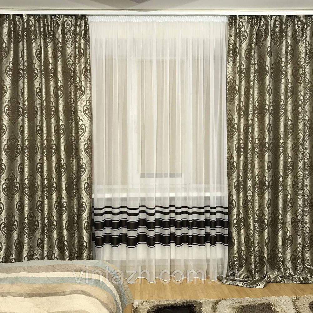 Готовый комплект плотных  штор недорого  в орнаментом в Украине