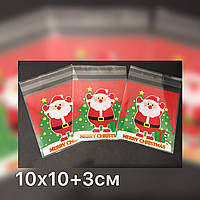 Новогодний пакет для упаковки конфет, выпечки 10х10+3см, 10шт/уп