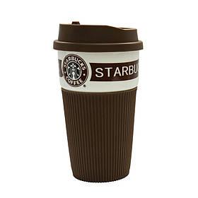 Термокружка керамическая UTM с крышкой Starbucks Brown