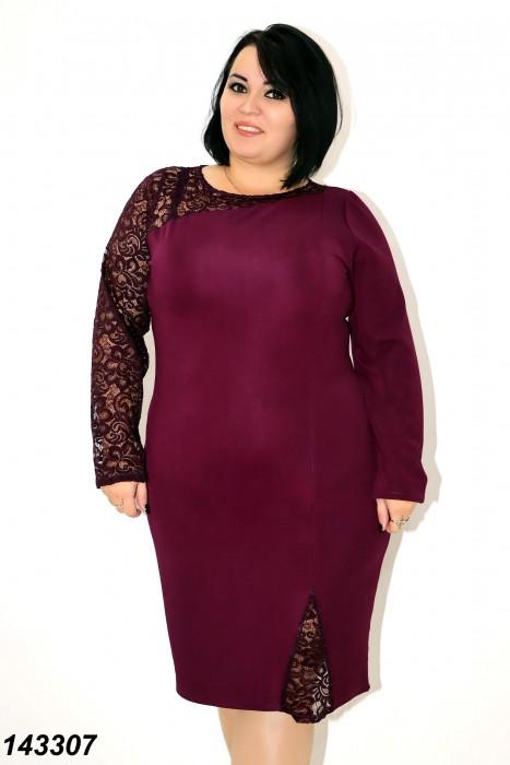 Нарядное платье с гипюром,фиолетовое 48,50,52,54,56