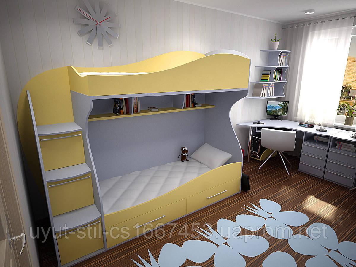 Детская двухъярусная кровать чердак дм147