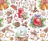 """Отрез ткани """"Волшебный шар и рождественские колокольчики"""" на белом, №2472 размер 80*160, фото 5"""