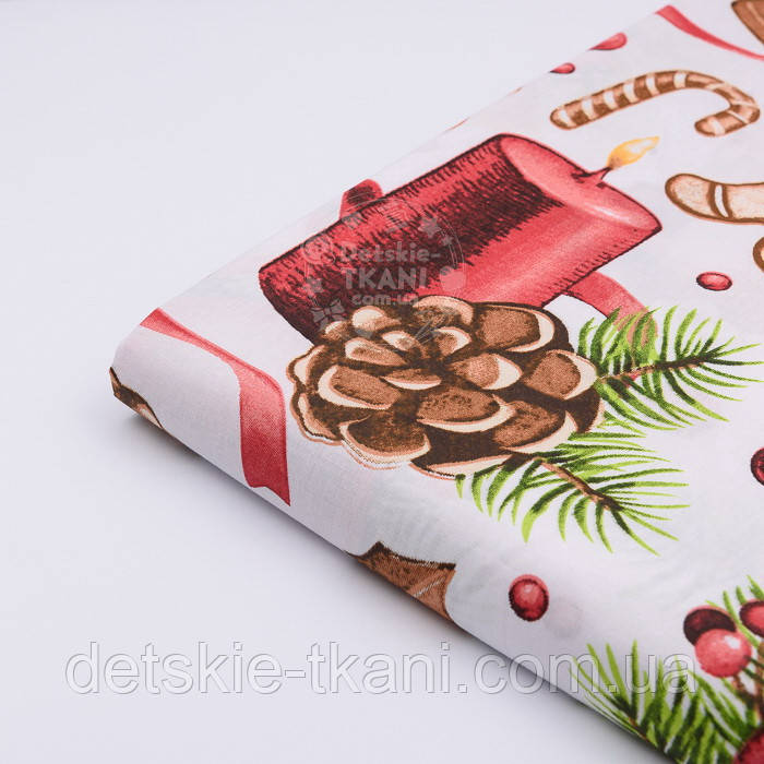 """Отрез ткани """"Волшебный шар и рождественские колокольчики"""" на белом, №2472 размер 80*160"""