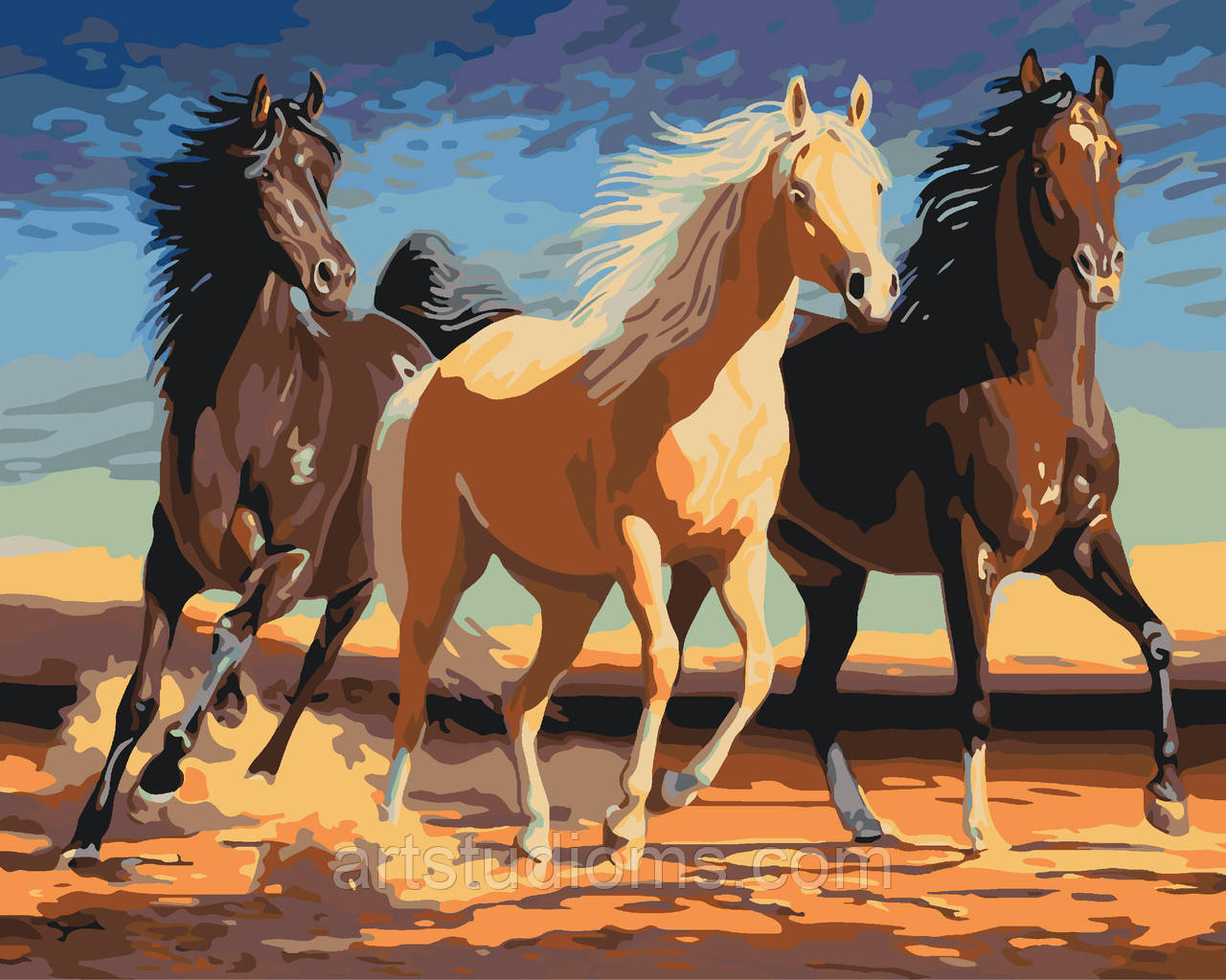Картина по номерам животные. Прекрасные лошади 40 х 50 см (с коробкой)