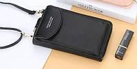 Сумка для телефона Baellerry forever через плечо Черная, женский клатч-кошелек