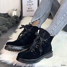 """Ботинки женские зимние, черного цвета из эко замши """"5324"""". Черевики жіночі. Ботинки теплые"""