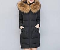 Женский зимний пуховик стеганый с капюшоном и меховой отделкой, черный M
