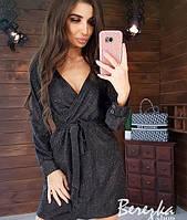 Изящное платье люрекс на запах с манжетами