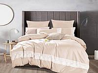 Комплект постельного белья Bella Villa Евро Сатин с кружевом кремовый